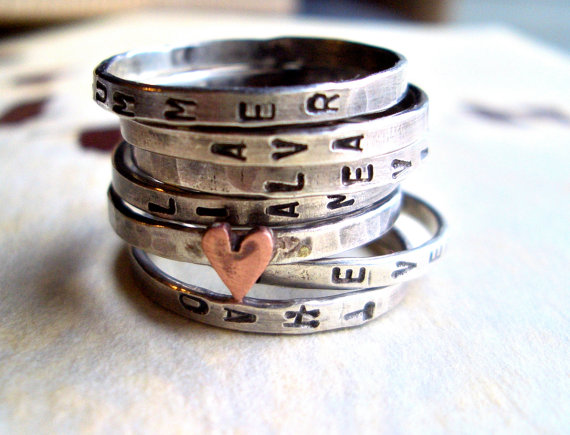 7 stackrings silver, copper, 110