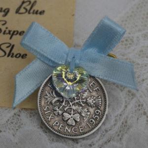 sixpence voor de bruid cadeautje voor de bruid blauw schoen