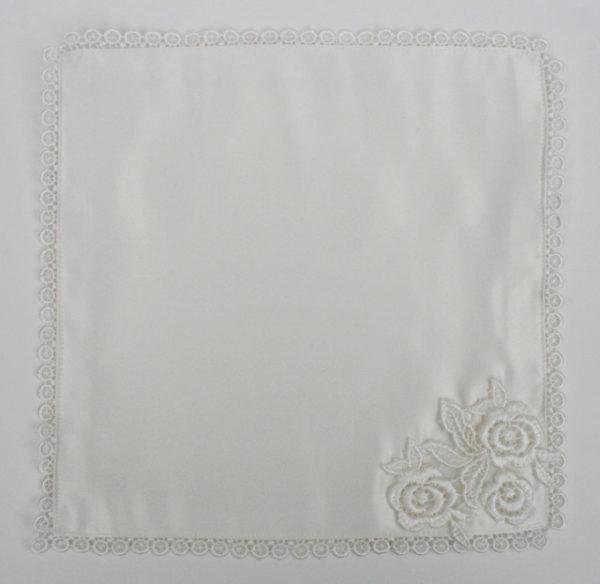 bruidszakdoekje handgemaakt, offwhite met vintage kant