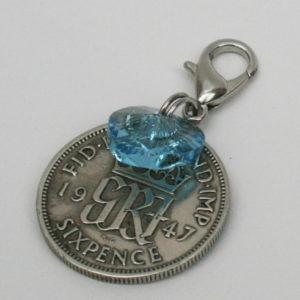 sixpence something blue cadeautje voor de bruid