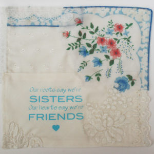 zakdoek cadeau bruid zus ivoor blauw