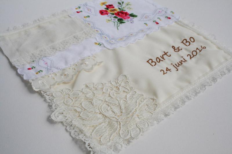 zakdoekje bruiloft namen en datum gepersonaliseerd vintage