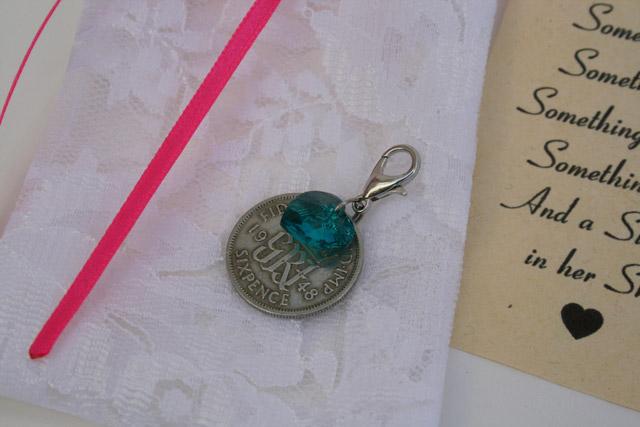 Sixpence en Swarovski hart emerald blauw