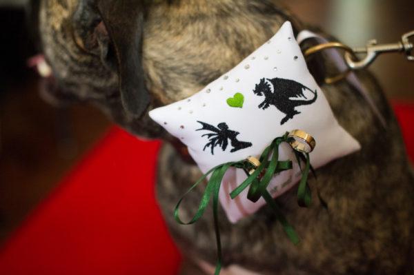 ringkussen met namen en datum, ringkussen voor de hond