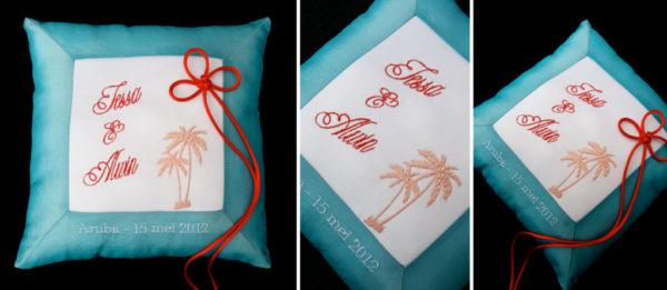 ringenkussen aruba palmbomen kleuren van de bruiloft, ringkussen met namen en datum