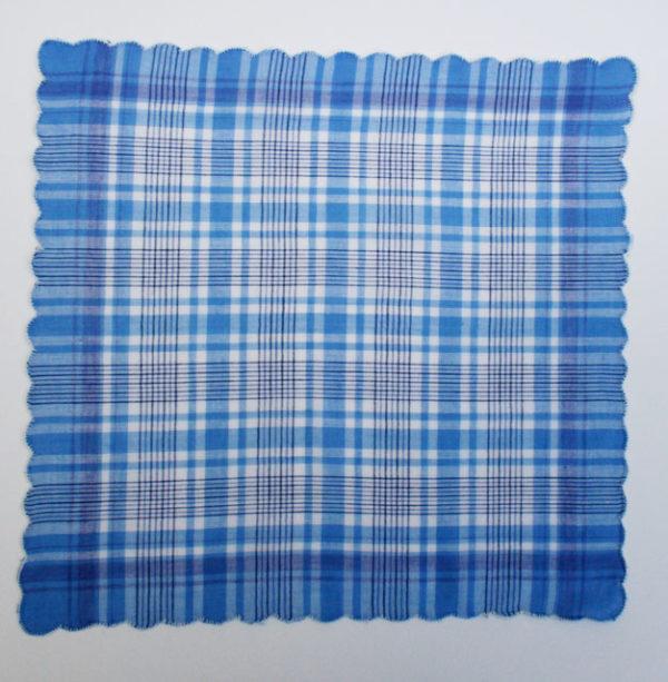 Vintage zakdoek ongebruikt blauw something blue opa en oma
