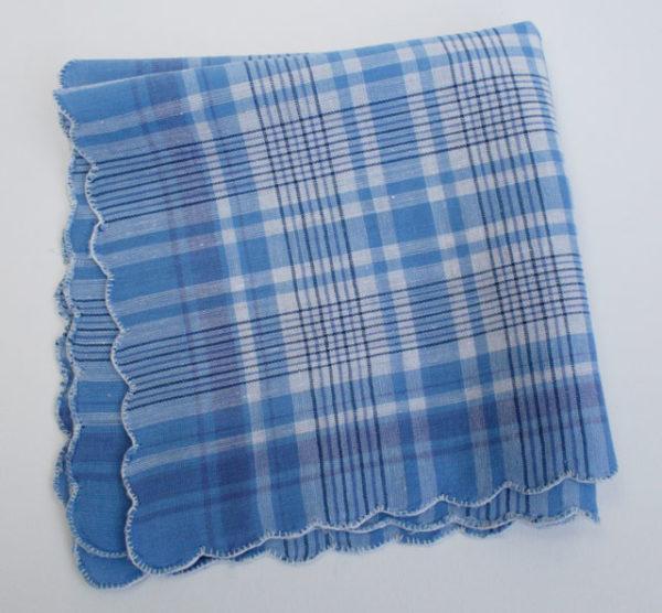 Vintage zakdoek ongebruikt blauw something blue grootouders