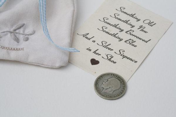 silver sixpence 1928 cadeau voor de bruid