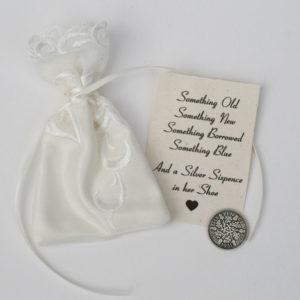 silver sixpence zilver muntje voor de bruid
