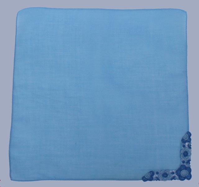 blauw bruidszakdoekje voor de bruid, vintage zakdoekje
