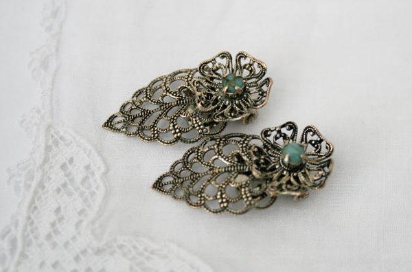 vintage oorbellen met turkoois, bijzondere accessoires voor de vintage bruid, jaren 40-50, vintage retro chique