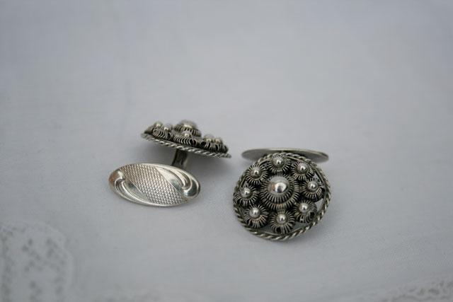 Zilveren zeeuwse knop manchetknopen