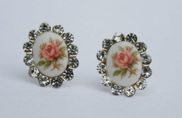 zilveren porseleinen oorbellen voor de vintage bruid, sterling zilver