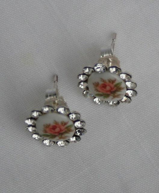 zilveren porseleinen oorbellen, in perfecte vintage staat, gemaakt van sterling zilver