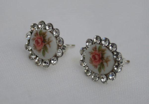 vintage zilveren porseleinen oorbellen voor de bruid, in perfecte staat, een subtiele 'something old'