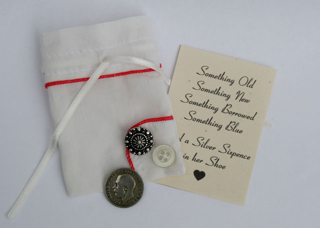 silver sixpence voor de bruid, lucky sixpence