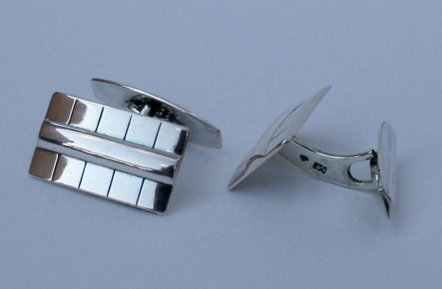 art deco manchetknopen, gemerkt zilver 830