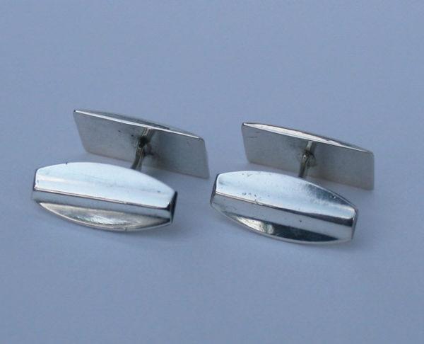 zilveren art deco manchetknopen, gemerkt en voorzien van edelsmid-teken
