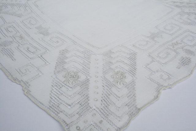 Brocante geborduurde zakdoek voor de bruid, vintage uit de jaren 50.