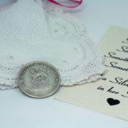 zilveren sixpence voor de bruid, cadeautje voor de bruid
