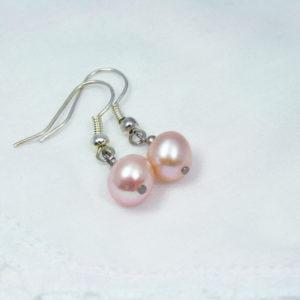 zalmroze parel oorbellen voor de bruid, vintage, in goede staat, goedkoop