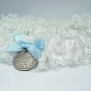 kousenband met sixpence, handgemaakt, grote maat, offwhite
