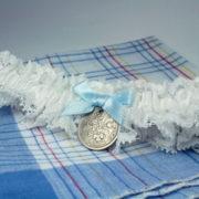 kousenband voor de bruid, sixpence, something blue, offwhite, ook in grote maat