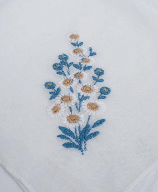 vintage bruidszakdoek met something old en something blue. Leuk cadeautje voor de bruid