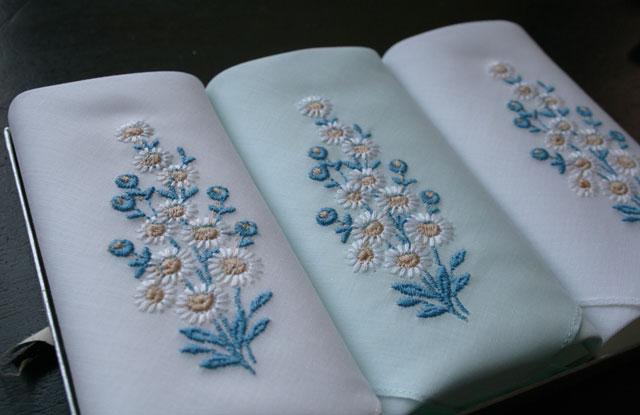vintage zakdoekjes something blue nieuw