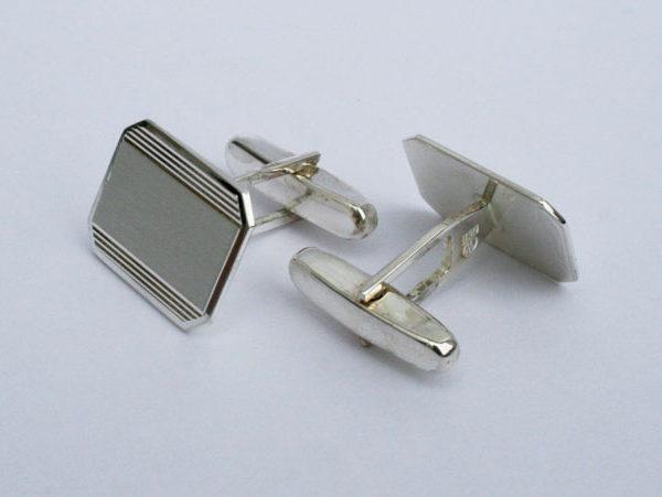 zilveren manchetknopen graveerbaar, vintage maar nieuw en in hele goede staat