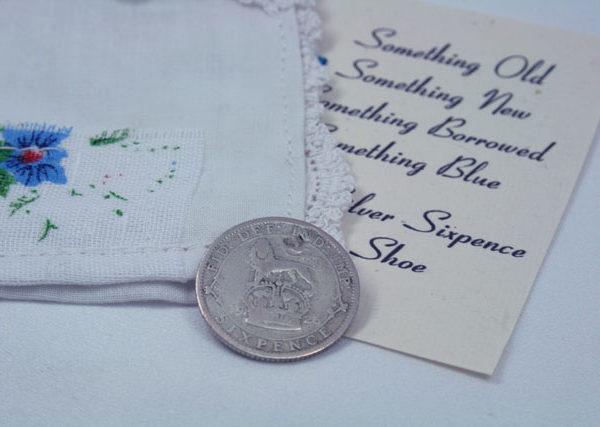 zilveren sixpence 1926, voor 50% zilver dus een echte silver sixpence voor in de schoen van de bruid
