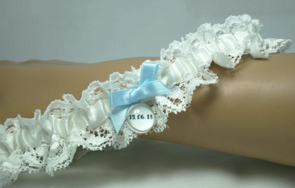 kousenband met trouwdatum, cadeau voor de bruid