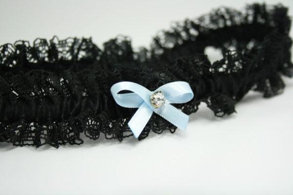 zwarte kousenband met zwart strikje