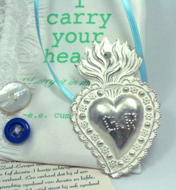 zilveren devotie hart