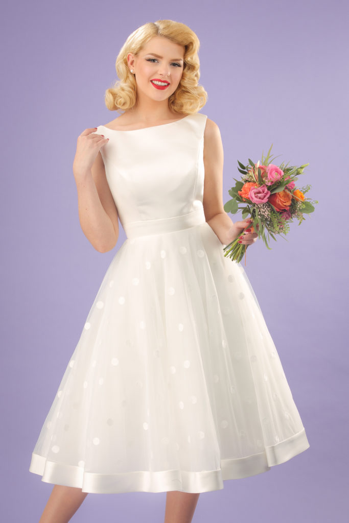 Vintage polkadot tealength weddingdress