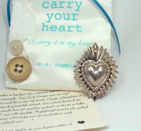 zilveren devotie hartje, ex voto hart