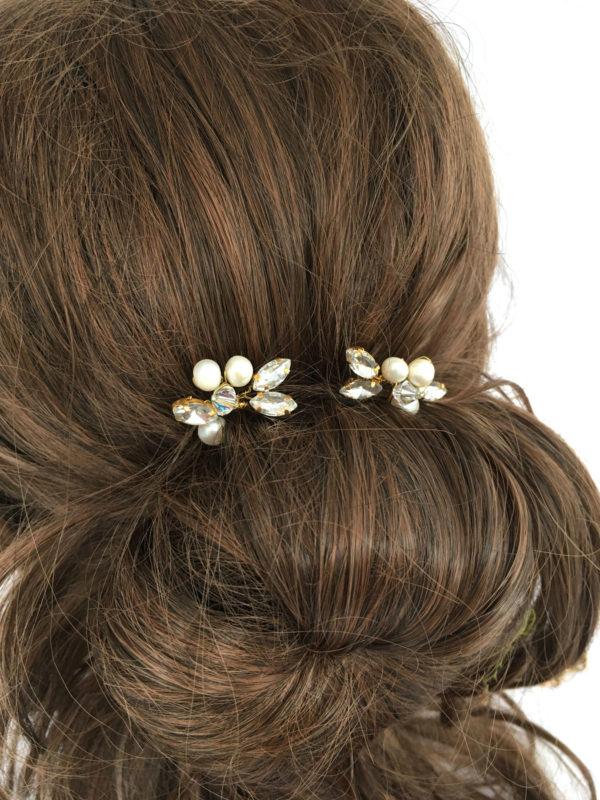 Haarspeld voor de bruid met swarovski en echte parels