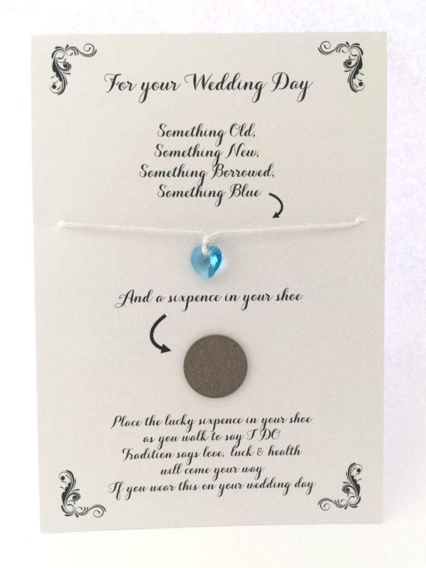 Something blue en een sixpence sturen naar de bruid