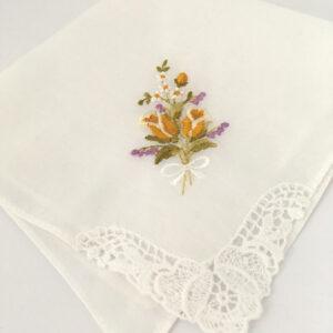 Vintage zakdoekje met tulpjes - geel