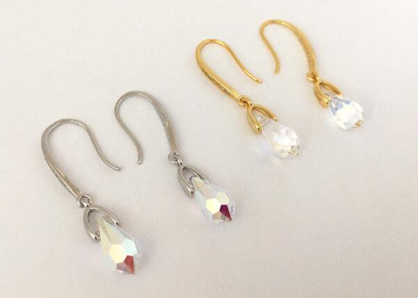 Zilveren en vergulde oorbellen voor de bruid met kristal