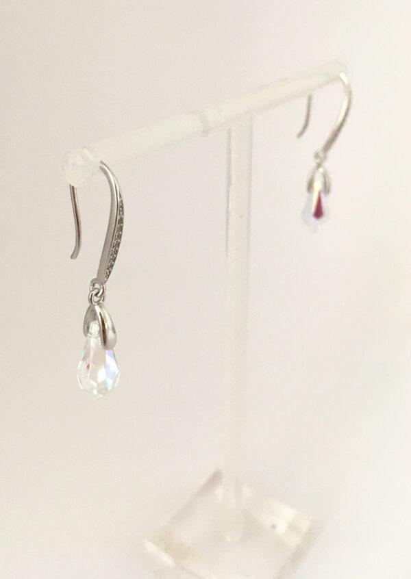 zilveren aurora borealis oorbellen met swarovski