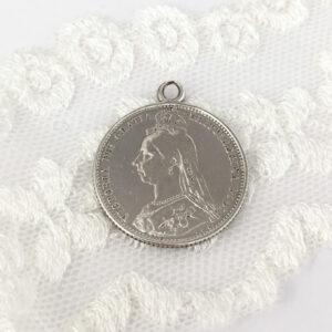 sterling zilveren sixpence uit 1887