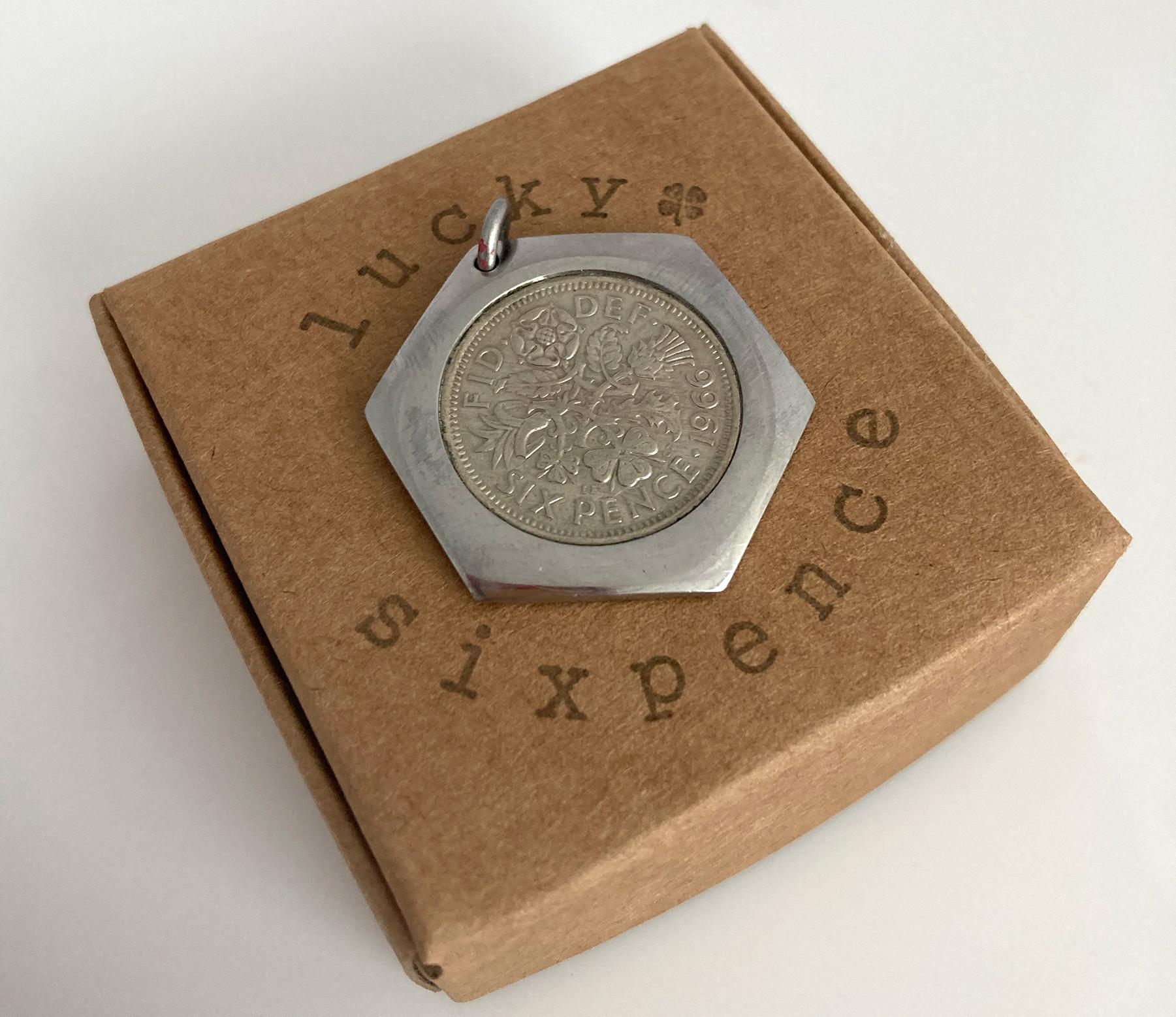 Lucky sixpence modern pendant