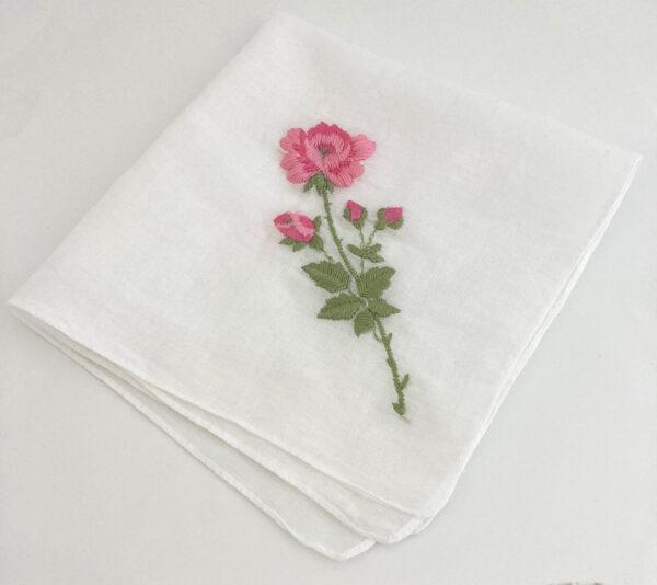zakdoekje met roze roosje